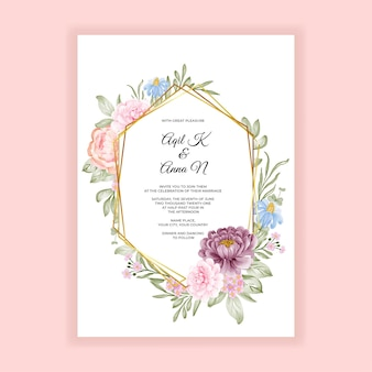 Carte d'invitation de mariage élégant cadre floral aquarelle