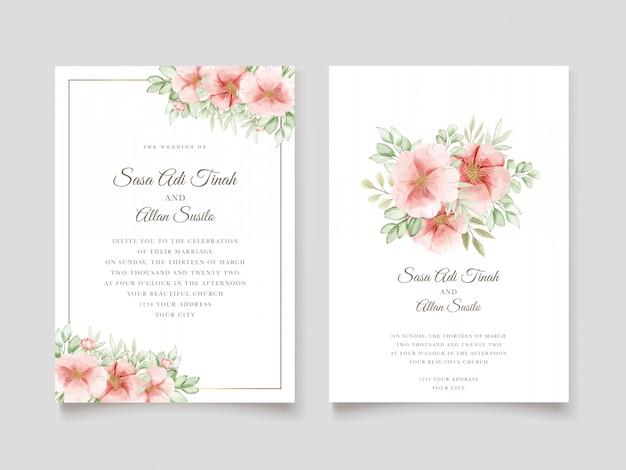 Carte d'invitation de mariage élégant chien aquarelle fleurs roses