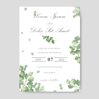 Carte d'invitation de mariage élégant avec feuille d'aquarelle