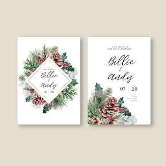 Carte d'invitation de mariage élégant floral floral hiver pour décoration vintage belle