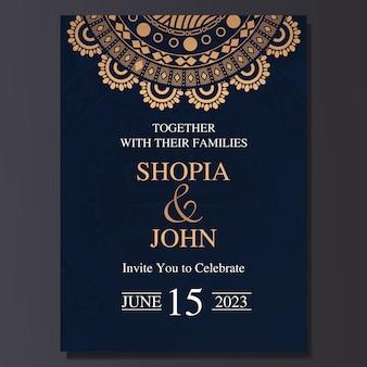 Carte d'invitation de mariage élégant avec ornement de mandala.