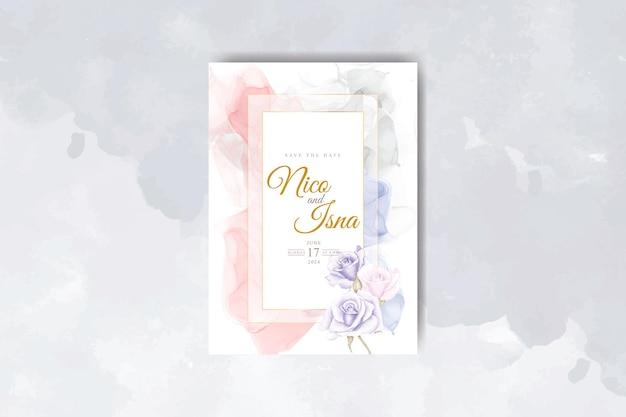 Carte d'invitation de mariage élégante avec aquarelle de belles fleurs