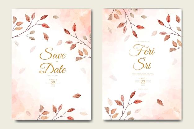 Carte d'invitation de mariage élégante avec aquarelle de feuilles florales
