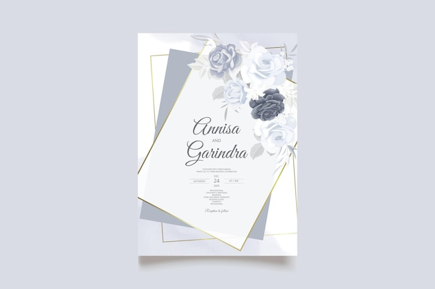 Carte d'invitation de mariage élégante avec un beau modèle de fleurs et de feuilles bleu marine