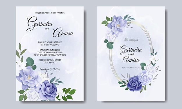 Carte d'invitation de mariage élégante avec un beau modèle de fleurs et de feuilles bleues vecteur premium