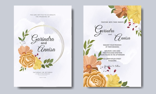 Carte d'invitation de mariage élégante avec beau modèle floral et feuilles vecteur premium