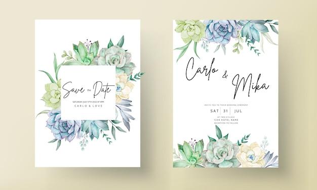 Carte d'invitation de mariage élégante avec une belle aquarelle de fleurs succulentes