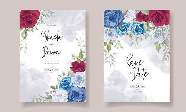 Carte d'invitation de mariage élégante avec une belle décoration florale