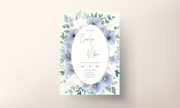 Carte d'invitation de mariage élégante avec de belles décorations florales