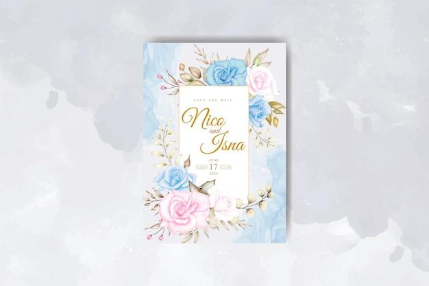 Carte d'invitation de mariage élégante avec de belles fleurs et feuilles à l'aquarelle