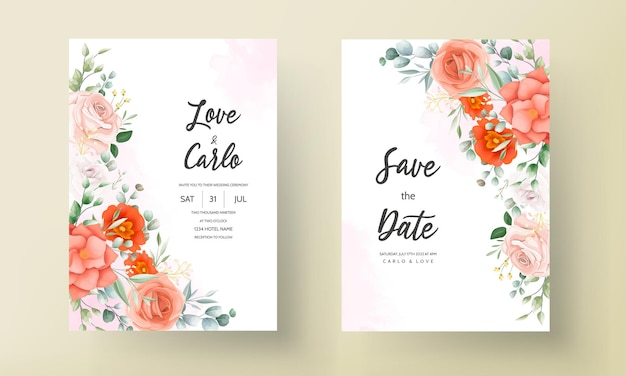 Carte d'invitation de mariage élégante décorée de belles fleurs orange