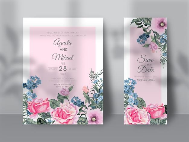 Carte d'invitation de mariage élégante fleur et feuilles avec ombre de superposition florale