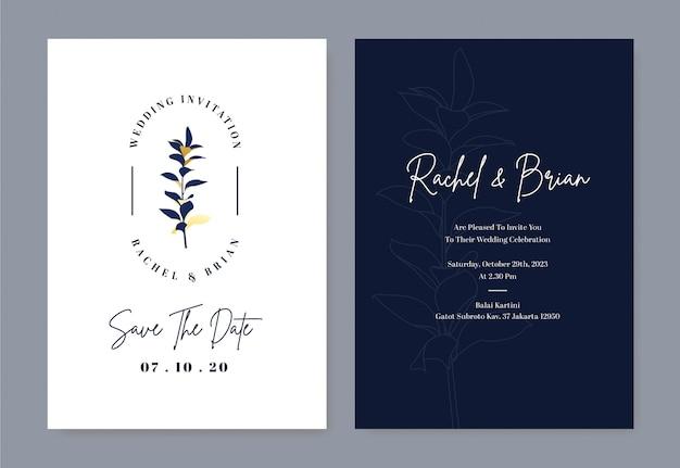 Carte d'invitation de mariage élégante avec logo fleur et couleur bleu royal