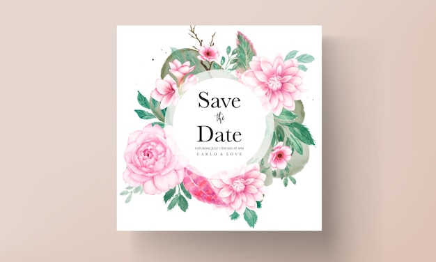 Carte d'invitation de mariage élégante avec ornement floral aquarelle rose tendre