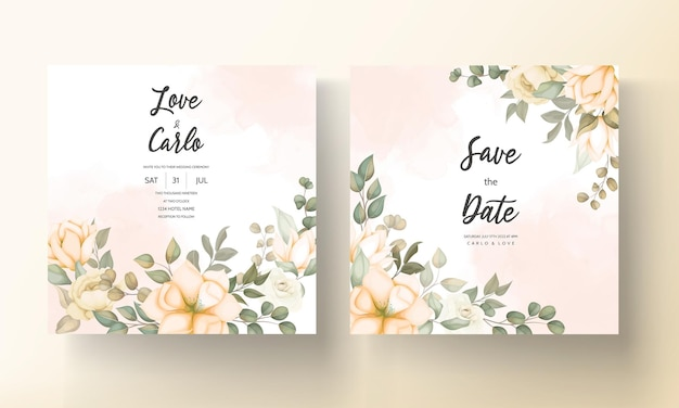 Carte d'invitation de mariage élégante avec des ornements floraux