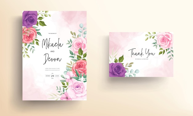 Carte d'invitation de mariage élégante avec des ornements roses