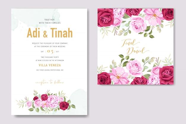 Carte d'invitation de mariage avec des éléments floraux