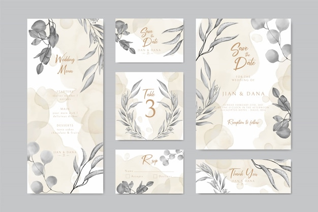 Carte d'invitation de mariage enregistrer la conception de menu de table rsvp date avec couronne de feuilles et cadre