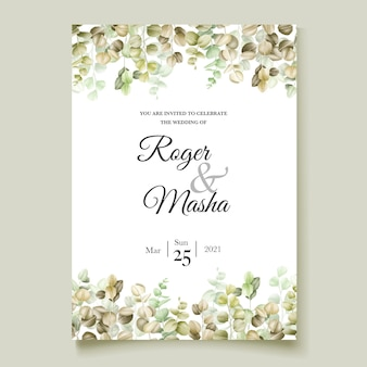 Carte d'invitation de mariage d'eucalyptus aquarelle
