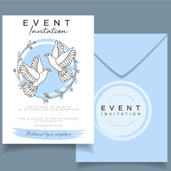 Carte d'invitation de mariage d'événement féminin élégant sur le thème botanique