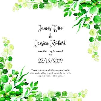 Carte d'invitation de mariage feuille aquarelle