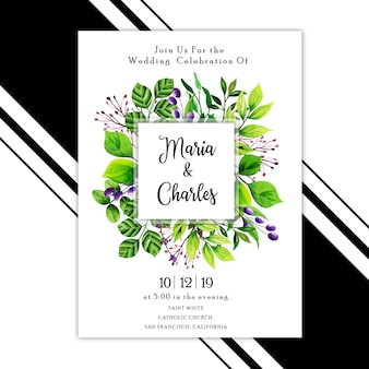 Carte d'invitation de mariage feuilles aquarelle