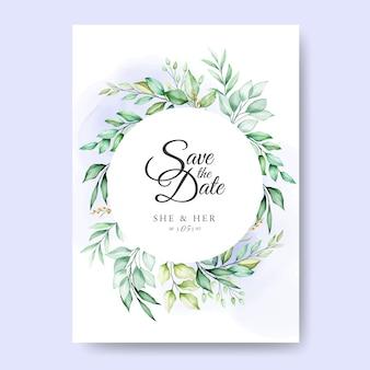 Carte d'invitation de mariage avec des feuilles d'aquarelle