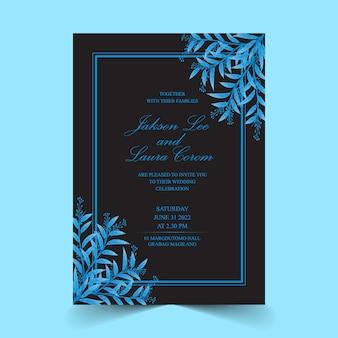 Carte d'invitation de mariage avec des feuilles de couleur bleu