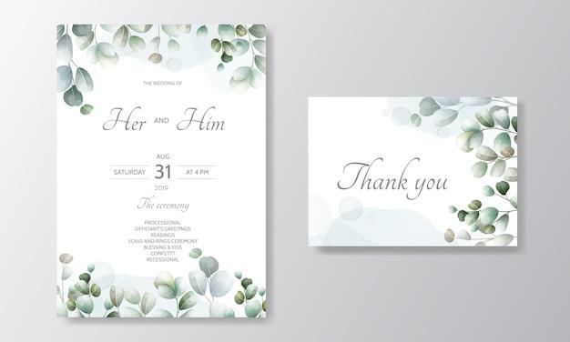 Carte d'invitation de mariage de feuilles vertes dessinées à la main