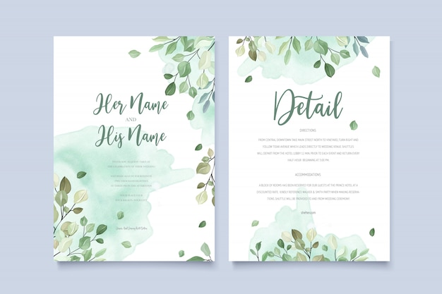 Carte d'invitation de mariage en feuilles vertes