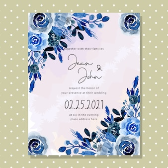 Carte d'invitation de mariage fleur aquarelle bleue