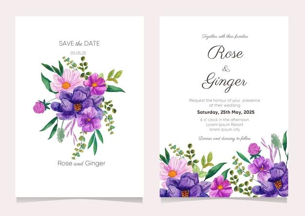 Carte d'invitation de mariage avec fleur aquarelle