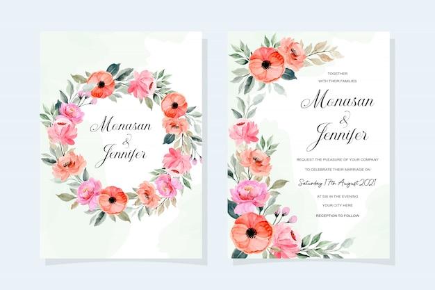 Carte d'invitation de mariage fleur floral avec aquarelle