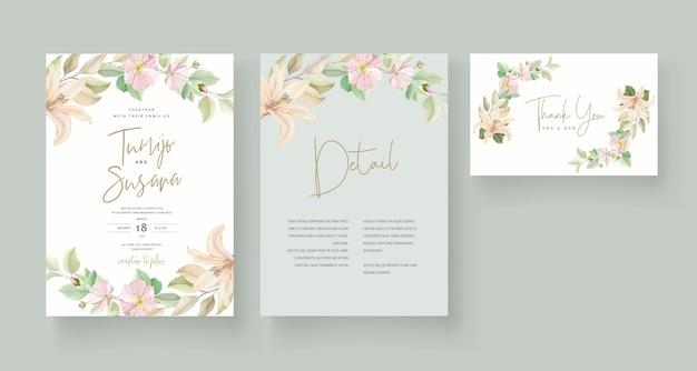 Carte d'invitation de mariage fleur de lys