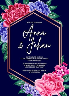Carte d'invitation de mariage fleur pivoine fond bleu marine.