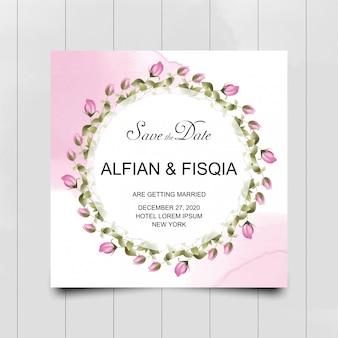 Carte d'invitation de mariage fleur rose rose avec style aquarelle