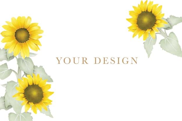 Carte d'invitation de mariage fleur de soleil aquarelle