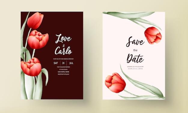 Carte d'invitation de mariage de fleur de tulipe romantique