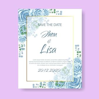 Carte d'invitation de mariage avec fleur