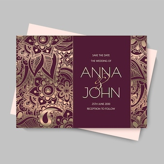 Carte d'invitation de mariage fleur