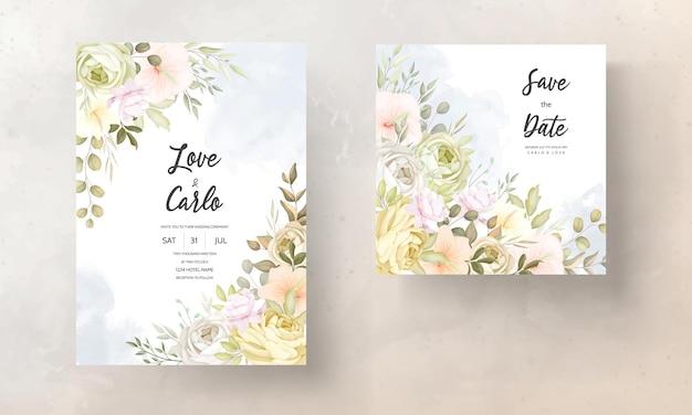 Carte d'invitation de mariage avec des fleurs d'automne douces et chaudes