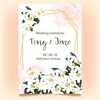 Carte d'invitation de mariage avec des fleurs blanches sauvages.