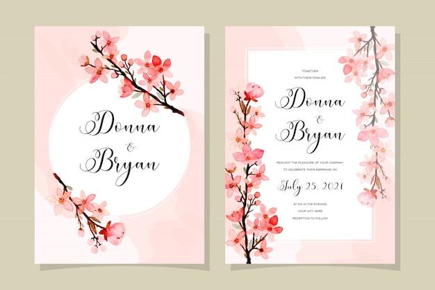 Carte d'invitation de mariage avec des fleurs de cerisier