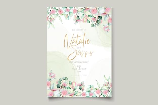 Carte d'invitation de mariage de fleurs d'eucalyptus