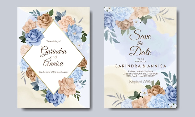 Carte d'invitation de mariage avec des fleurs et des feuilles colorées bleues et brunes vecteur premium