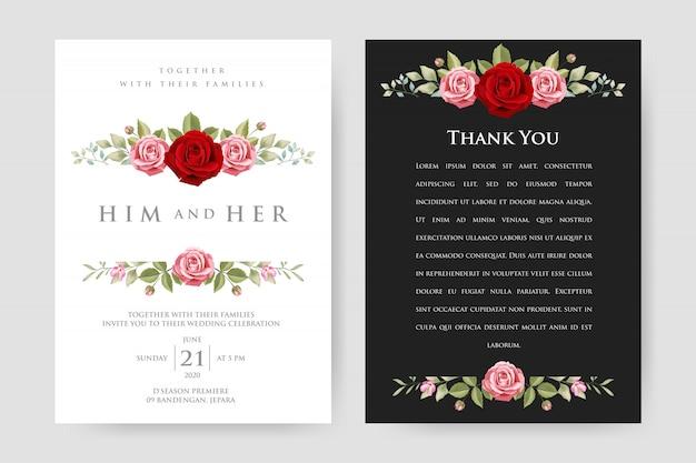 Carte d'invitation de mariage avec fleurs et feuilles