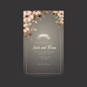 Carte d'invitation de mariage avec des fleurs et des feuilles