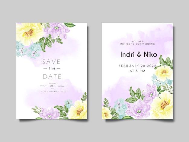 Carte d'invitation de mariage avec des fleurs magnifiques et artistiques