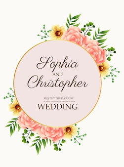 Carte d'invitation de mariage avec des fleurs roses en illustration de cadre circulaire doré