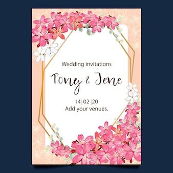 Carte d'invitation de mariage avec des fleurs sauvages.